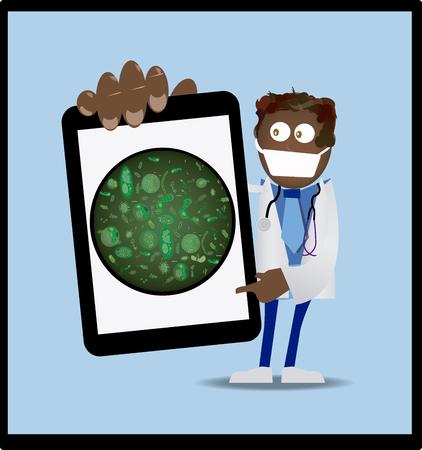 virus alert (arts met een tablet-computer) Stockfoto