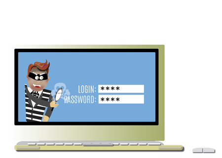 hacker advanced and grabbing a computer from a password Stock Photo