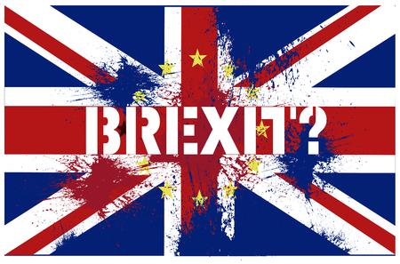 Brexit UK EU referendum concept met vlaggen Stockfoto