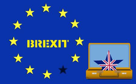 decides: Brexit UK EU referendum concept with flags