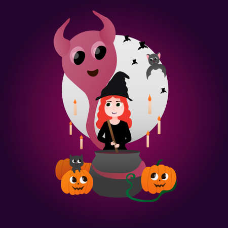 Happy Hallowen illustration on purple background cute witch boiling potion in cauldron, bat flying around, big moon, dark cat sitting in pumplin, kawaii ghost, symbols of witchcraft