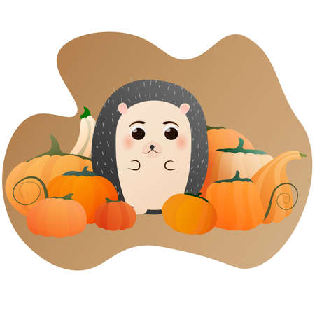 Cute hedgehog character for kids sitting near pumkins, autumn ilustration for greeting cards, posters, textile, stickers
