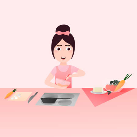 Cute little girl cooking, vegetables on the table,cutting mushrooms and carrot, healthy ingredients,girl trying to make dinner or lunch, practicing and learning concept, preparing kitchen equipment