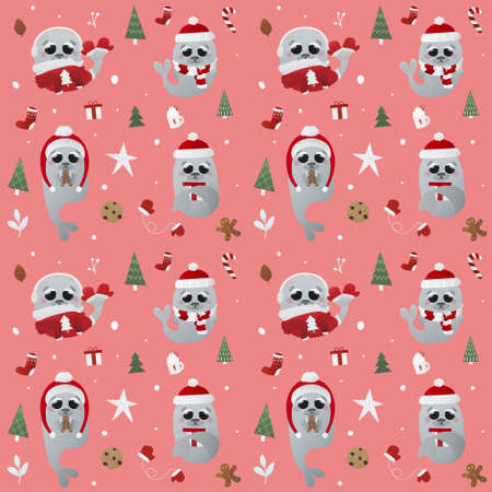 Winter christmas or new year pattern with walruses in holiday attributes, childish illustration for wrapping paper, textile or print
