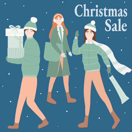 Christmas Sale and shopping concept, friends preparing for winter holidays, happy young woman and man with packages and presents, people hurrying