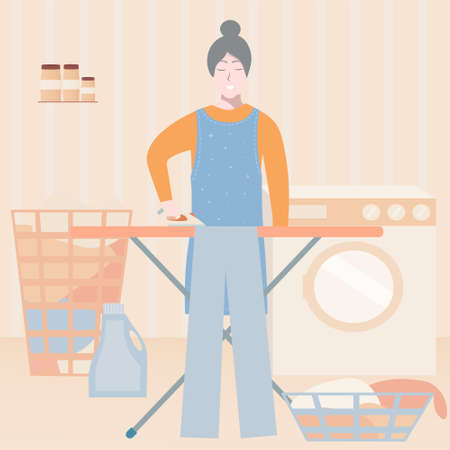 Cute old lady ironing clothes, active granny character, daily routine of grandma, cartoon vector illustration Illustration