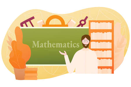 School lesson study objects, geometrical shapes, male professor on light background, e-learning concept of math, algebra, university course
