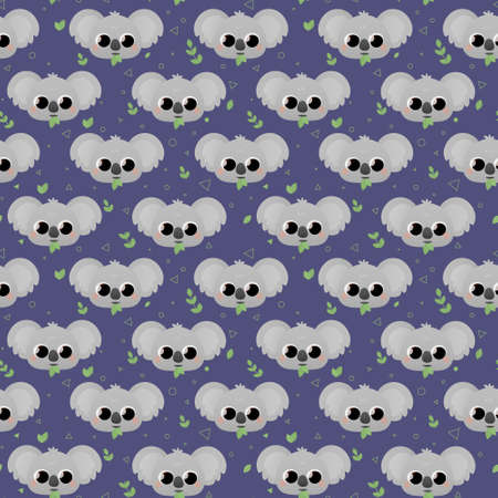 Cute childish pattern with koalas and leaves and triangles, circles on dark blue background for textile or fabric print, wrapping paper or wallpaper