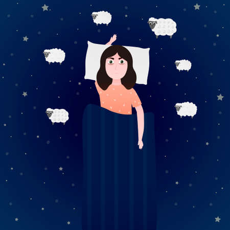 Little girl suffering from insomnia, counting sheeps and trying to fall asleep, health disorder, medical concept for poster Stock fotó - 155908629