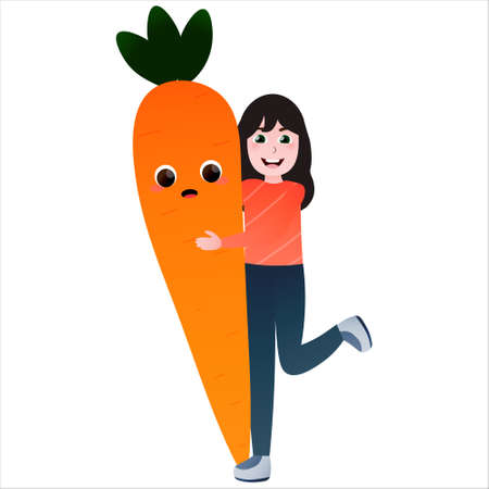 Cute little girl embracing giant carrot, vegetable charater having fun with kid, healthy organic food for children, vector childish illustration Illusztráció