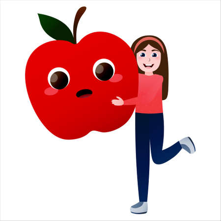 Little girl hugging with friendly giant apple, healty food concept, cute vegeterian kid holding organic vegetable, illustration for infographic Illusztráció