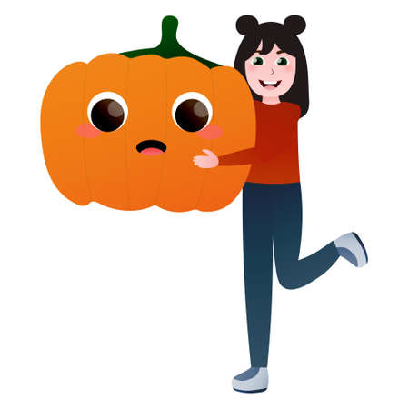 Little girl playing with giant pumpkin, eco life style, healthy fresh food concept in cartoon style