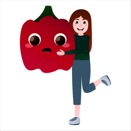 Happy kid holding giant pepper, love vegetables concept, organic food and eco lifestyle concept in cartoon style