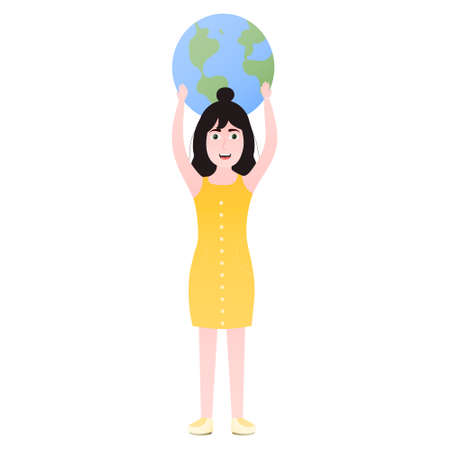 Happy kid protest for saving Earth planet, ecological concept in cartoon style, girl in yellow dress holding planet in arms, enviroment conservation
