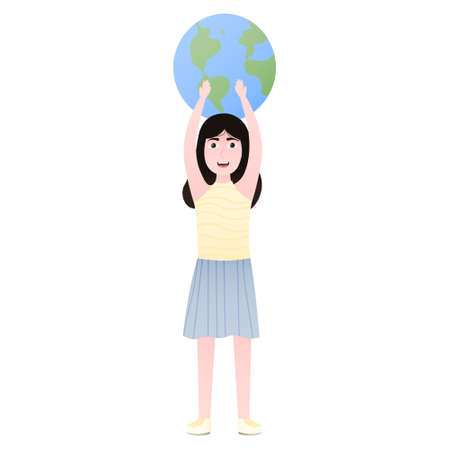 Cute girl holding planet for earth day, environment conservation concept, funny cartoon character, ecology poster