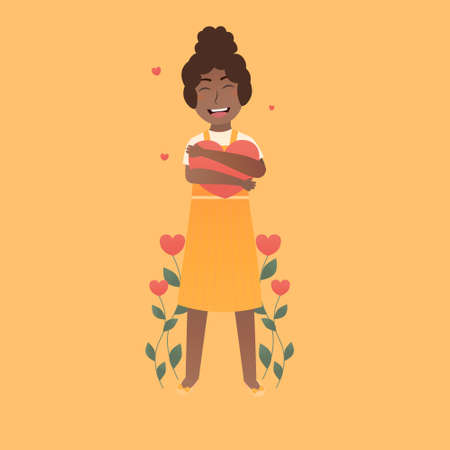 Little girl hugging giant heart in cartoon style, love yourself concept, love flowers growing on orange background, body positivism Illusztráció