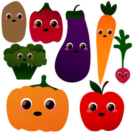 Set of cute vegetables characters in cartoon style on white background - eggplant, radish, potato, pumpkin, carrot, pepper, broccoli and apple, healthy food concept