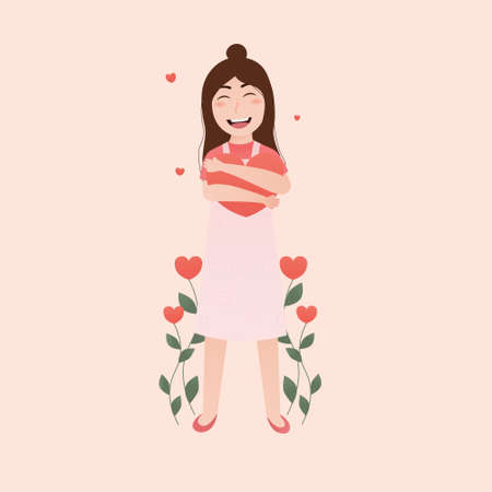 Self care and love concept with cute girl holding heart and love flowers on pink background in cartoon style for posters