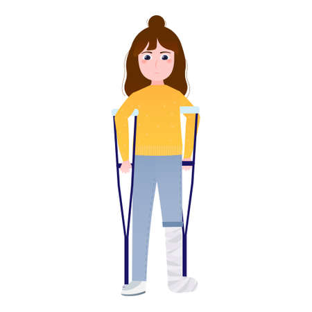 Sad little girl with broken leg in bandage standing on crutches, suffering from pain, medical help or insurance concept, depressed inhured schoolgirl on white background in cartoon style
