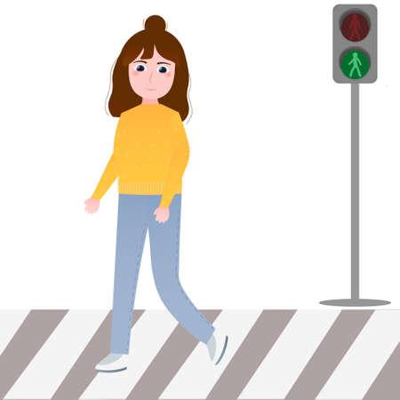 Little girl crossing road, green light of traffic light, rules for pedestrian, schoolgirl learning safety crossroad on white background