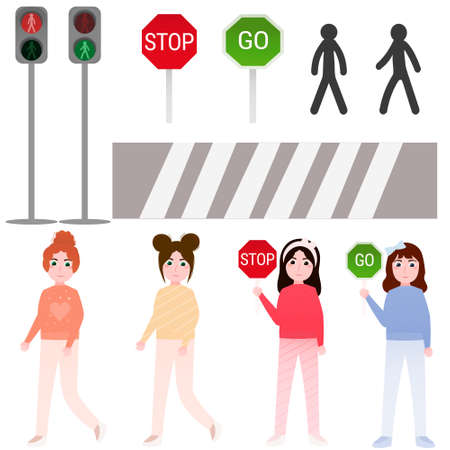Set of elements for pedestrian rules for kids in cartoon style, little girls crossing road, traffic lights, road sign stop and go for educational posters