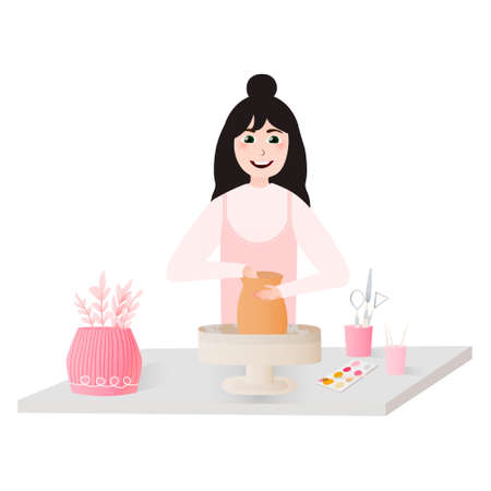 Cute woman making vase on pottery wheel, handmade clay pot, ceramic craft master, decorating pot on white background in cartoon style
