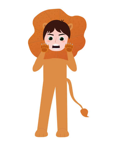 Little boy in cute lion costume for party masquerade, animal character, sign zodiac on white background in cartoon style