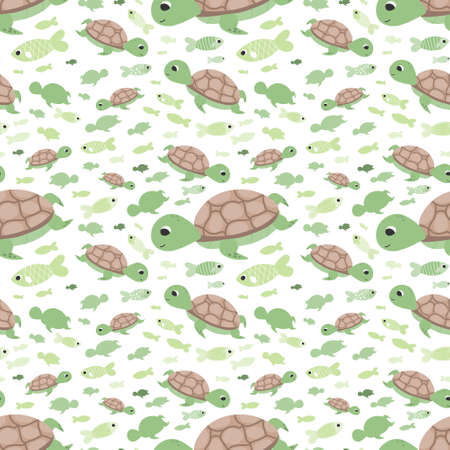 Cute turtle pattern with fishes on white background for childish wallpaper or wrapping paper, fabric printing, colourful vector graphic Illusztráció