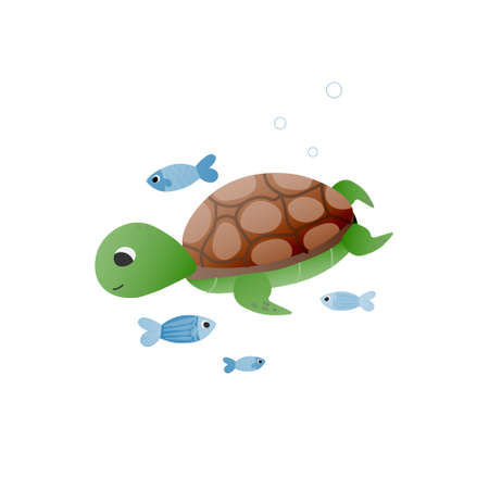 Cute vector childish turtle with little fishes, graphics for educational posters about marine life, kawaii animal character isolated on white background