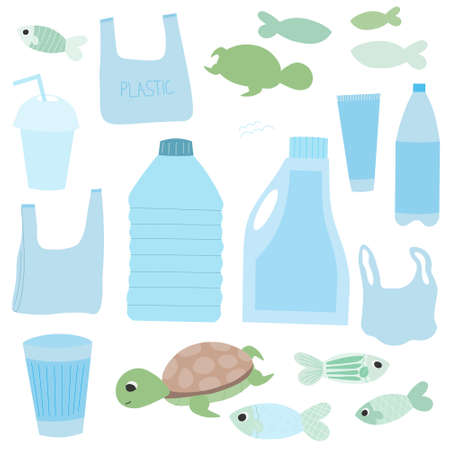 Set of plastic objects and marine creatures isolated on white background, vector graphics for infographics and educational posters Illusztráció