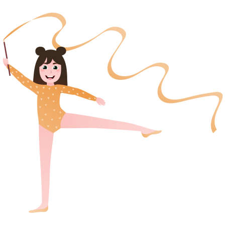 Cute athletic girl training with ribbon in gym, kid performing gymnastics exercise in cartoon style, future professional atletics on white background Illusztráció