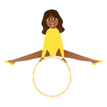 Cute african girl practicing handstand on hoop, little flexible gymnast doing strentching exercises, rhytmic pose for posters in cartoon style on white background Illusztráció