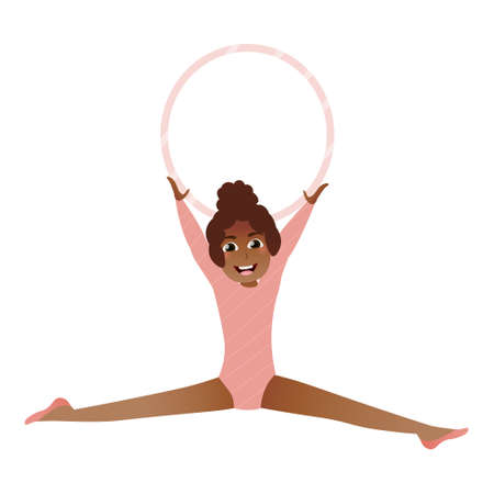Cute african girl playing with hoop, little gymnast doing twine, preparing for competition, spending time with fun, kids sport activity in cartoon style on white background