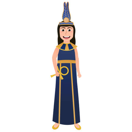 Cute girl in ancient egyptian attire, mythological godness costume, vector illustration in cartoon style for infographics, cleopatra clothes