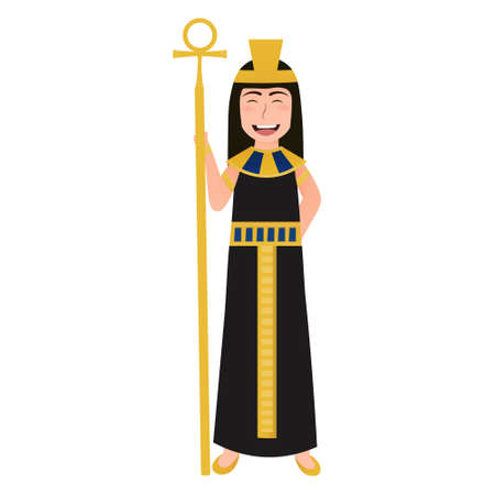 Little cute girl in cleopatra costume, ancient egyptian queen character in cartoon style on white background, gold necklace and headdress, historical leader Illusztráció
