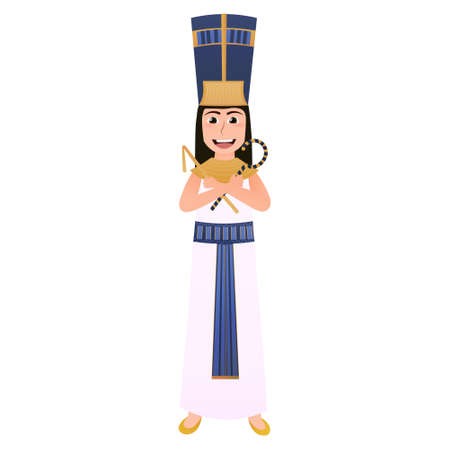 Little kid wearing nefertiti national egyptian costume, ancient historical godness or leader, golden headdress, symbols of power in hands, attire for carnival Illusztráció