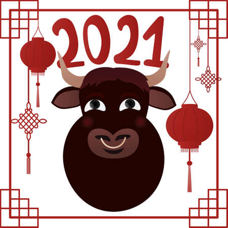 Chinese new year 2021 greeting card, ox symbol, concept for decor element, lanterns and knots