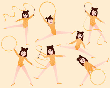 Set with little cute gymnastics or ballerinas girls training poses on yellow background, stickers or graphics for posters, afterschool activity Illusztráció