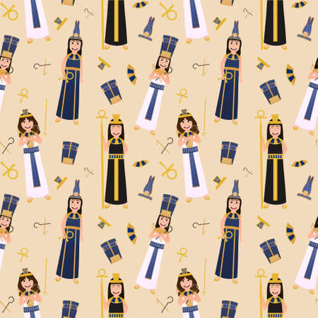 Ancient egyptian goddess and pharaons seamless pattern on light yellow background for print or wallpapers, ethic symbols, egyptology set