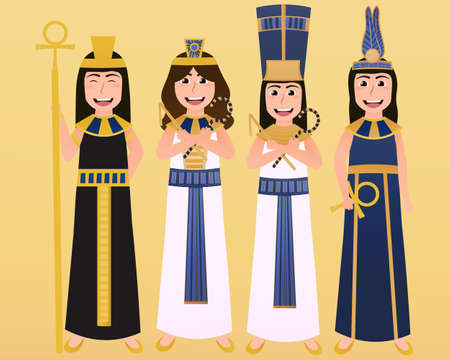 Ancient egyptian goddess or sacred queens collection in cartoon style, cultural persons in traditional clothes, pharaoh set