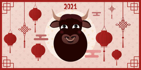 Chinese new year of ox, cartoon character of cow, oriental ornate, laterns and signs, web banner for winter holidays, greeting card, asian elements