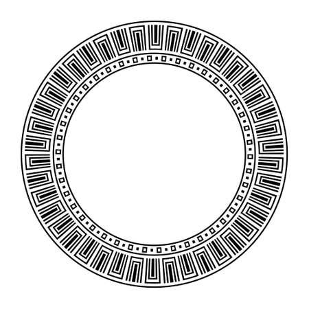 Greek repetetive motif,   pattern brush of meander, line maze circle frame, greece key on white background, ancient symbols