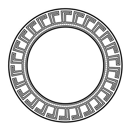 Traditional greek ornament, circle frame meander, geometric maze border, ancient greece, assian, egyptian motif, absrtract background