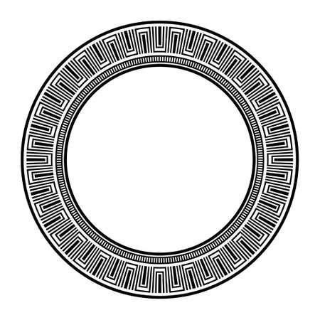 Repeating design, greek key pattern brush, circle maze frame, geometric symbols, assian, egyptian or greece motif, ancient decoration elements 向量圖像