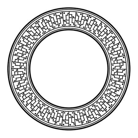 Circle frame with   meander, decorative antique ornament, greece, Asian or egyptian isolated border on white background, line geometric art