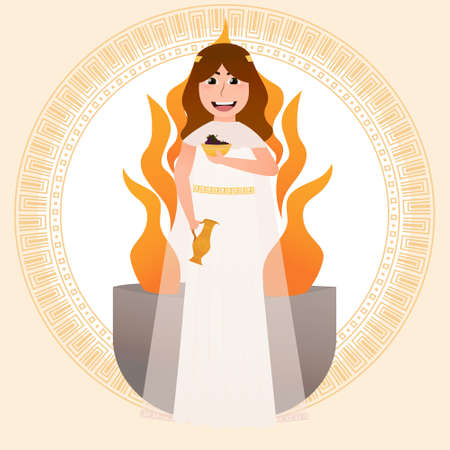 Hestia greece goddess of hearth, liitle girl in ancient greece costumeholding grape and pottery, flame on background, meander circle frame, roman pantheon