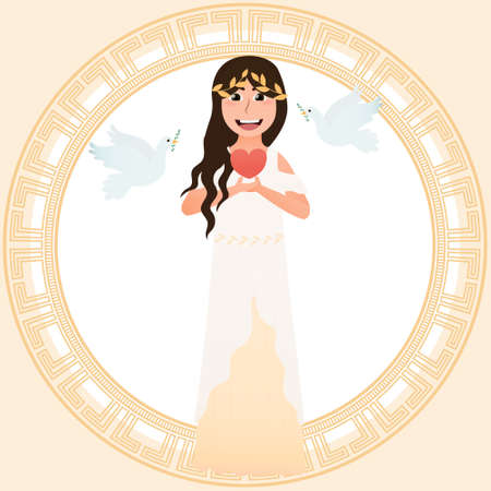 Little girl in costume of greece goddess of love and beauty - Aphrodite, holding heart symbol and pigeons flying around, meander round frame,ancient greece people