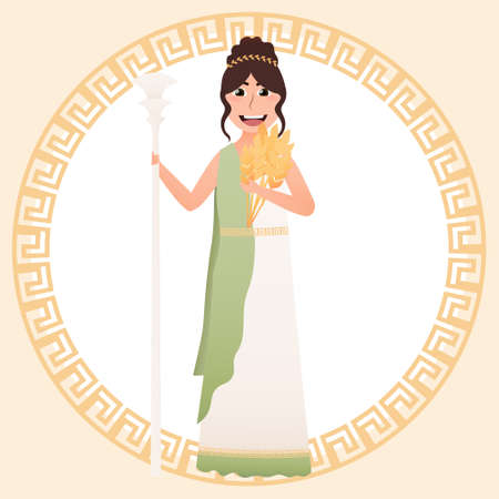 Greece goddess of harvest and grain - Demeter, cute girl in ancient greece costume, holding wheat, meander on background,   pantheon