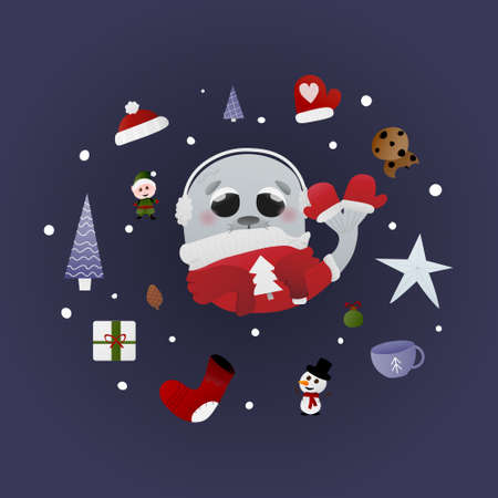 Childish walrus character in winter ugly sweater around gifts, cookies and socks, christmas atmosphere, circle frame from new year symbols, greeting card