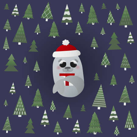 Little chidish walrus character holding gift siting around different christmas trees, winter holiday attributes, greeting card for kids